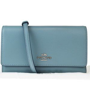 Coach 2Way Leather Clutch Bag,Shoulder Bag Blue